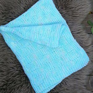 Handmade green/pink knitted baby blanket